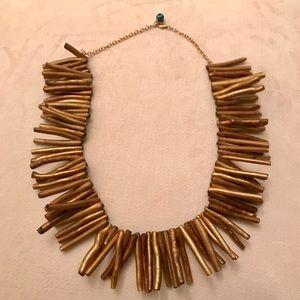 Gold wood bib necklace